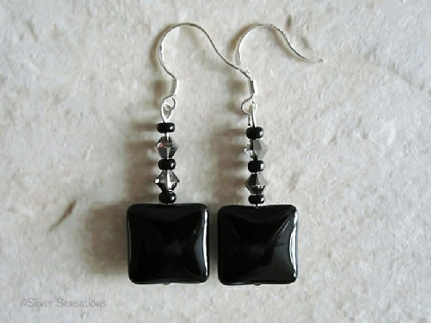 Black Onyx Puff Squares & Swarovski Crystals Sterling Silver Earrings